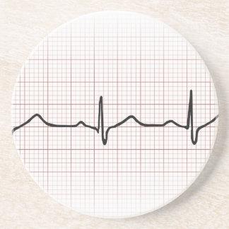 EKG heartbeat on graph paper, PhD (doctor) pulse Sandstone Coaster