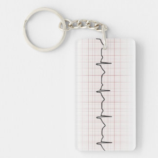 EKG heartbeat on graph paper, PhD (doctor) pulse Double-Sided Rectangular Acrylic Key Ring