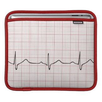 EKG heartbeat on graph paper, PhD (doctor) pulse iPad Sleeve