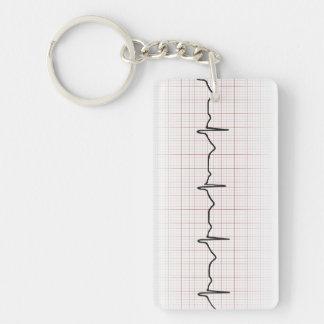 EKG heartbeat on graph paper, PhD (doctor) pulse Key Ring