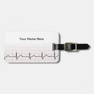 EKG heartbeat on graph paper, PhD (doctor) pulse Luggage Tag