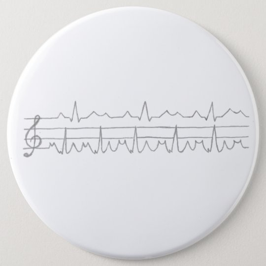EKG Music Note 6 Cm Round Badge