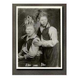 Eko and Iko Men from Mars Circus Performers Postcard