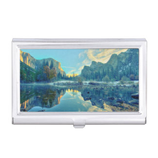 El Capitan and Three Brothers Reflection Business Card Holder