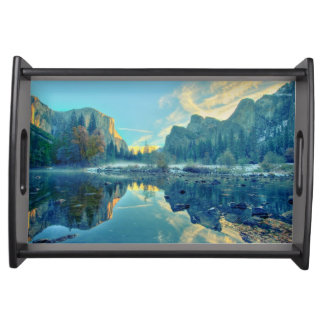 El Capitan and Three Brothers Reflection Serving Tray