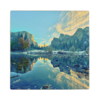 El Capitan and Three Brothers Reflection Wood Coaster