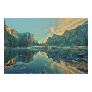 El Capitan and Three Brothers Reflection Wood Wall Decor