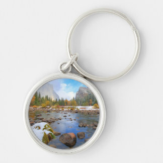 El Capitan and Three Brothers Silver-Colored Round Key Ring