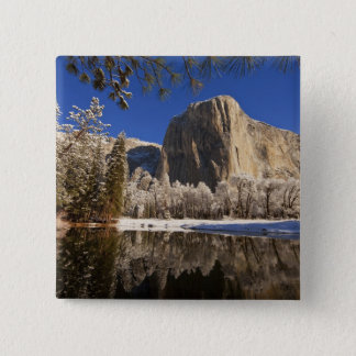 El Capitan reflects into the Merced River in 15 Cm Square Badge