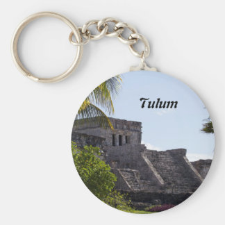 El Castillo de Tulum - Mayan ruins Basic Round Button Key Ring