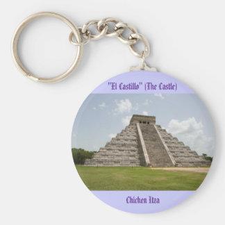 """""""El Castillo"""" (The Castle) at Chichen Itza Basic Round Button Key Ring"""