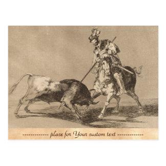 El Cid Campeador Spearing Another Bull José Goya Postcard