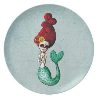 El Dia de Los Muertos Mermaid Plate