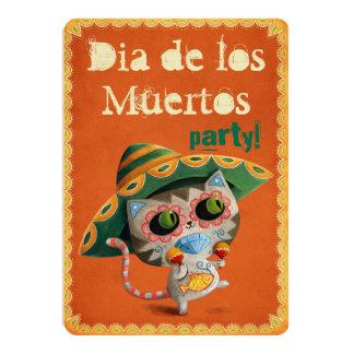 El Dia de Los Muertos Party Invitiation with Cat 13 Cm X 18 Cm Invitation Card