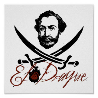 El Draque Pirate Insignia Poster