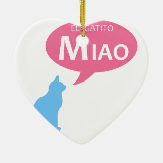 EL Gatito Miao Ceramic Heart Decoration