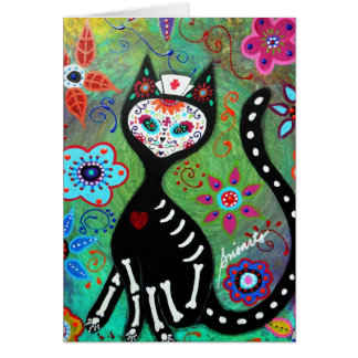 EL GATO CAT DIA DE LOS MUERTOS NURSE PAINTING GREETING CARD