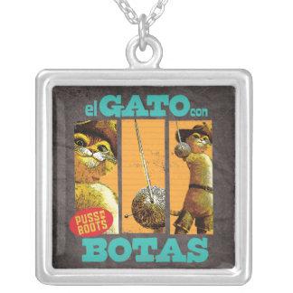 El Gato Con Botas Square Pendant Necklace