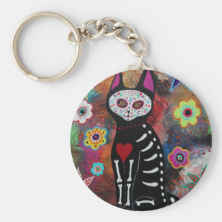 El Gato Day of the Dead Painting by Prisarts Basic Round Button Key Ring