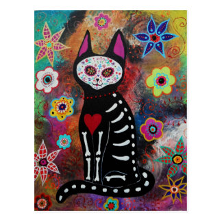 El Gato Day of the Dead Painting by Prisarts Postcard