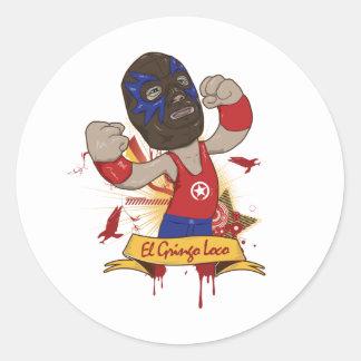 El Gringo Loco Round Stickers