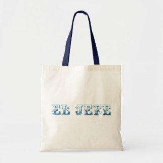 El Jefe logo Floreado blue azul Tote Bags