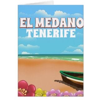 El Medano Tenerife beach travel poster Card