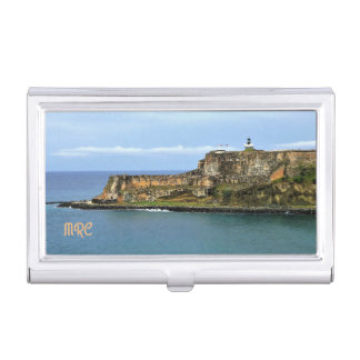El Morro Guarding San Juan Bay Monogrammed Business Card Holder