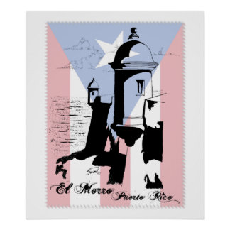 El Morro, Puerto Rico w Flag Poster