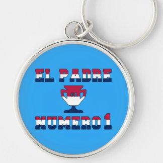El Padre Número 1 in American Flag Colors Keychain