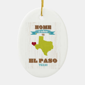 El Paso, Texas Map – Home Is Where The Heart Is Christmas Ornament