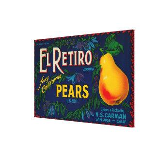 El Retiro Pear Crate Label Canvas Print