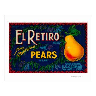 El Retiro Pear Crate Label Postcard