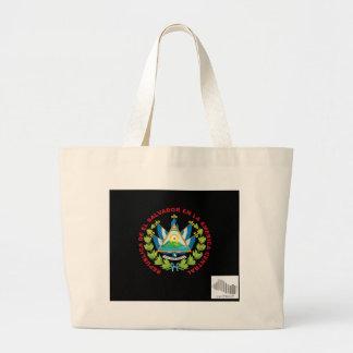 el salvadior emblem and barcode canvas bag