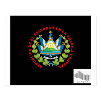 el salvadior emblem and barcode postcard