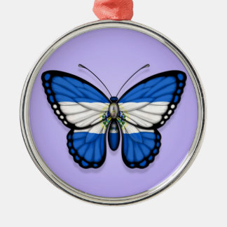 El Salvador Butterfly Flag on Purple Christmas Ornament