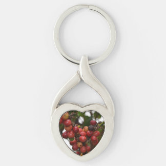 El Salvador Coffee Beans Silver-Colored Heart-Shaped Metal Keychain