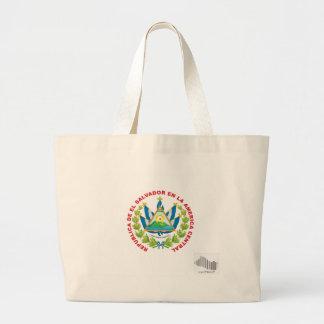 el salvador emblem and barcode tote bag