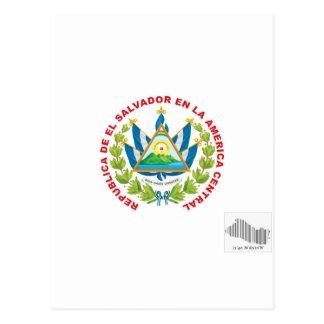 el salvador emblem and barcode postcard