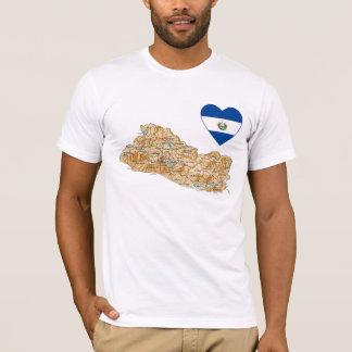 El Salvador Flag Heart and Map T-Shirt