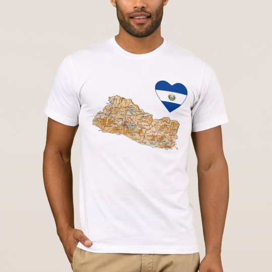 El Salvador Flag Heart and Map T-Shirt