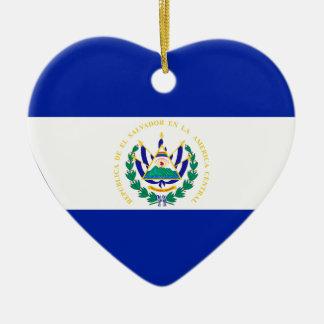 El Salvador Flag Heart Ceramic Heart Decoration