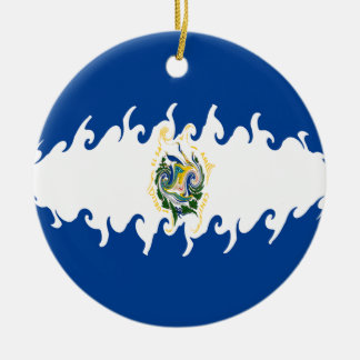 El Salvador Gnarly Flag Christmas Tree Ornament