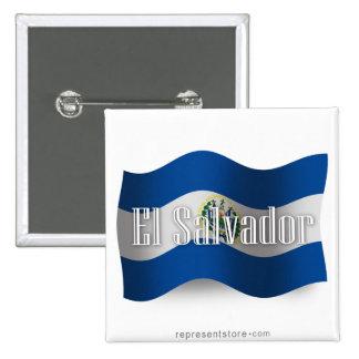 El Salvador Waving Flag Pinback Buttons