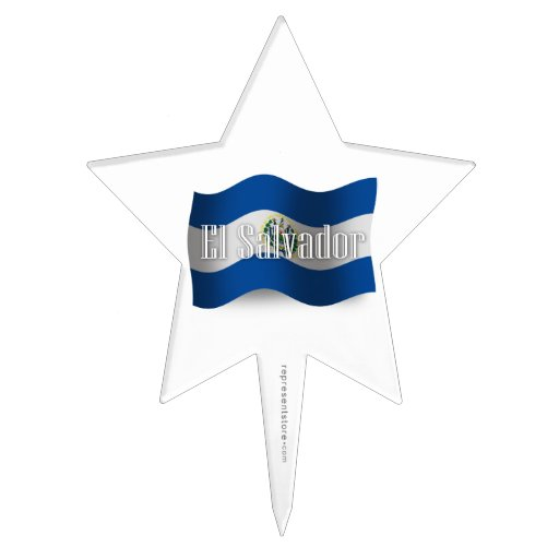 El Salvador Waving Flag Cake Toppers