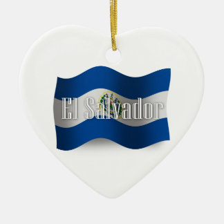 El Salvador Waving Flag Christmas Ornament