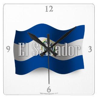 El Salvador Waving Flag Clock