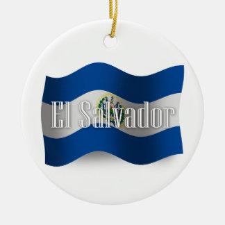 El Salvador Waving Flag Christmas Tree Ornament