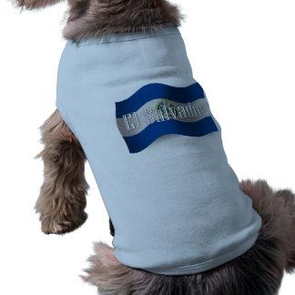 El Salvador Waving Flag Dog T Shirt