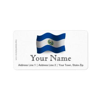 El Salvador Waving Flag Address Label
